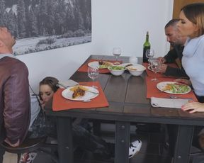 Family dinner with hardcore fucking an FFM action
